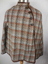 Vintage Welsh Woollens Womens Cape Wool Wales Tapestry Poncho Coat Sz Medium