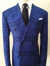 Blue super 150 Cerrutti wool suit with Tom Ford like peak lapel-Made in Italy