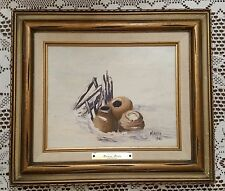 Small Oil Painting Snow Pots by artist Marcia 1985 Canvas with Wood Frame