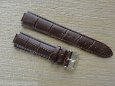 21mm Brown Croco Grain Leather Strap Band W/Silver Clasp fit LV Tambour Watch