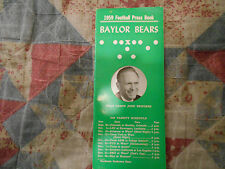 1959 BAYLOR BEARS FOOTBALL MEDIA GUIDE Yearbook College Press Book Program AD