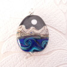 Desert Moon Lampwork Glass Pendant in .925 Sterling Silver Charm Pride Jewelry