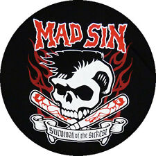 CHAPA/BADGE MAD SIN . pin button psychobilly demented are go meteors cramps punk