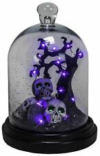 IG362 RIP Skull Grave Haunted Tree LED Lighted Glass Dome Halloween Decoration