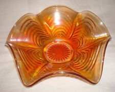 "Vintage Imperial Art Glass ARCS Pattern Marigold Carnival 9"" Ruffled Bowl NICE"