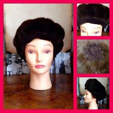 Vintage 50's 60's Chocolate Brown Faux Fur Mink Style Pillbox Beret Hat M