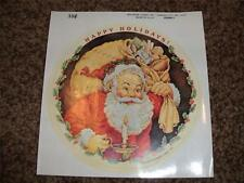 Vintage Hallmark Christmas Big  Sticker 1 Sheet 1983 NWOP Santa Claus Bag Holly