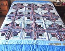 FINISHED Twin,Full Sz Blues Log Cabin Quilt Coverlet,Bedspread,Wall Decor 78x78