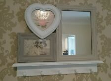 Vintage Shabby Chic Photo Frame Shelf and Mirror with Hooks Sass Belle Picture