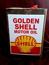 "GOLDEN SHELL MOTOR OIL LABEL CAN Sticker / Decal 8"" X 6"" (20CM X 15CM) Petrol"