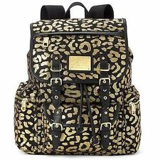 JUICY Couture GOLD Metallic LEOPARD Laptop Book Backpack Bag NWT NEW FREE SHIP