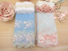 LOT~8Y~Assorted Embroidered Tulle Lace&Venise Lace Trim~Blue&Pink~Group AP~