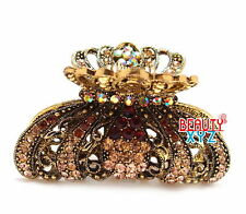 New Brown Rhinestone Imperial crown design high quality metal Hair Claws Clip