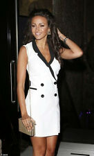 LIPSY MICHELLE KEEGAN WHITE AND BLACK TUXEDO MONOCHROME FITTED DRESS SIZE 8