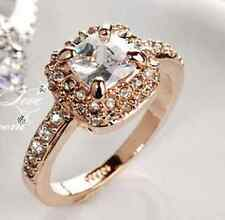 18KGP Gold Rose Gold White Gold Solitaire CZ Engagement Ring Wedding Band