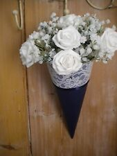 12x CHURCH PEW ENDS WEDDING  HANGING DECORATION NAVY WITH LACE,PEARL.DIAMANTE