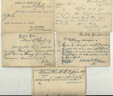 * 1878/87 5 x CANADA 1c POSTAL STATIONERY CARDS USED  BANKING INSURANCE COMMISSr