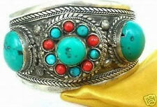Rare Tibet Silver turquoise Coral Beads Cuff bracelet