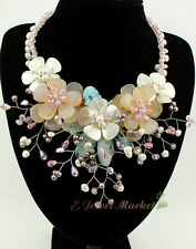 N12101415 white sea shell natural agate flower necklace earrings set