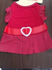 Dog Dress Size XXS Red With Mini White Dots Red Belt White Belt Buckle Heart