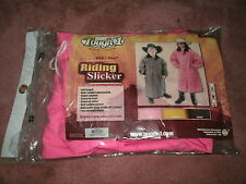 Child's Med Pink Tough 1 Deluxe PVC/Vinyl Riding Slicker w/ Removable Hood