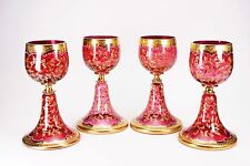Moser Bohemian Red Gold Enameled Glass Roemer Goblets - Set of 4 - Set A