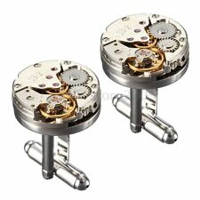 New Watch Movement Mens Cufflinks Steampunk Vintage Wedding Clockwork Cuff Links