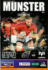 Munster v Ospreys Pro12 League 8 Oct 2011 Thomond Park, Limerick RUGBY PROGRAMME
