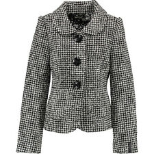new KILLAH black/white fitted WOOL rich houndstooth check JACKET uk12/14 bnwt
