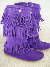 Minnetonka 3 Layer Fringe Moccasin Calf Boots Purple Suede Studded Sz 12 Youth