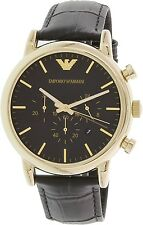 Emporio Armani Men's Dress AR1917 Black Leather Quartz Watch