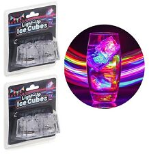 Set of 4 Light Up Plastic Drinking Ice Cubes LED Lights Fun Party Bar Accessory