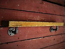"""Industrial 5"""" Deep Floating Wall Shelves with pipe brackets. industrial look"""