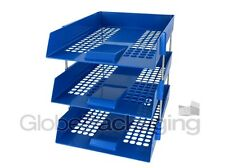 3 x BLUE IN/OUT LETTER FILING TRAYS + RISERS (1 COMPLETE SET)