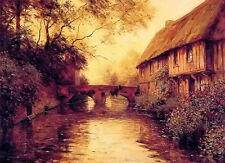 Oil painting house by the river landscape at sunset dusk free shipping for all @