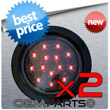 "2X ROUND 4"" TRUCK TRAILER RED LED LIGHT STOP TURN TAIL 14-DIODE FLUSH MOUNT USA"