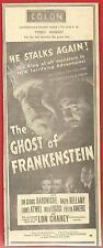 RARE  ORIGINAL  1942   THE  GHOST  OF  FRANKENSTEIN   AD     SCI-FI / HORROR  !!