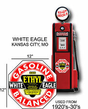 "12"" 1920-40 WHITE EAGLE GASOLINE DECAL OIL CAN / GAS PUMP / LUBSTER"
