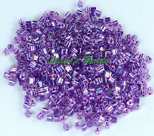 11/0 Triangle TOHO Glass Seed Beads #788- Rainbow Crystal/Tanzanite Lined 15g