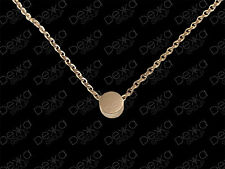 18K Rose Gold GP Necklace Mini Circle Disc Coin Dot Tiny Titanium Charm Pendant