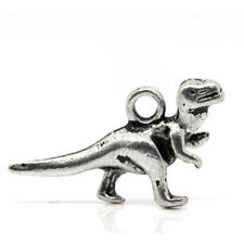 Packet of 10 x Antique Silver Tibetan 22mm Charms Pendants (Dinosaur) ZX05845