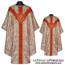 Metallic RED Clergy Gothic vestment,stole &5pc mass set chasuble,casual, casel