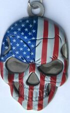 Red White and Blue 3D American Pride Skull Key Fob/Chain Victory Harley Indian