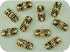 2 Hole Beads Marcasite Tablets GOLD w/Clear Swarovski Crystal Elements ~ QTY 10