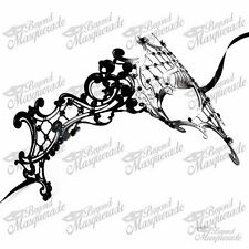 Womens Phantom Filigree Laser-Cut Venetian Masquerade Mask [Black Rhinestones]