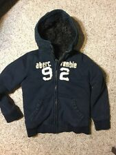 Boys Large Blue ABERCROMBIE HEAVY ADIRONDACK COAT JACKET W/ HOOD Faux Fur LINED
