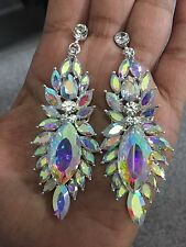 "3"" Long Big Silver Clear Aurora Borealis AB Austrian Crystal Pageant Earrings"