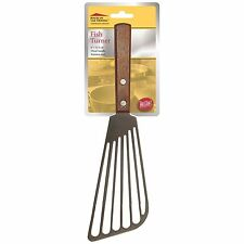 "TableCraft 10.75"" Stainless Steel Fish Turner / Spatula with Wood Handle"
