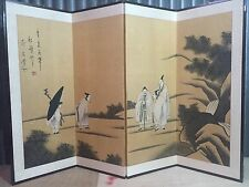 Antique Byobu Painted Chinese Japanese Asian Folding 4 Panel Screen art SIGNED