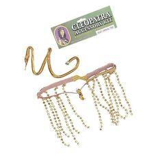 Gold Cleopatra Egyptian Fancy Dress Accessory Set Headpiece Snake Bracelet BA286